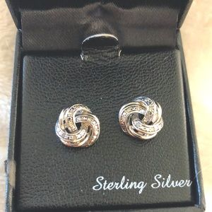 Sterling silver with small diamonds post earrings